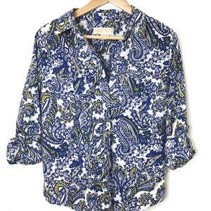 Michael Kors Blue & Yellow Paisley Button Up Shirt